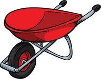 Red Wheelbarrow. A red, metal cartoon wheelbarrow Royalty Free Stock Photo