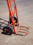 Red wheelbarrow in thai market Royalty Free Stock Images