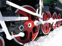Red wheels of old locomotive Stock Photo