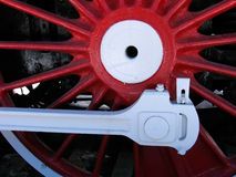 Red wheels of old  locomotive. Red wheels of old russian  locomotive Stock Photography