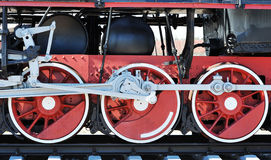 Red wheels of old steam locomotive Royalty Free Stock Photography