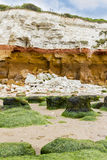 Red and whilte sandstone and chalk cliffs at Hunstanton, Norfolk Stock Photography