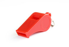 Red whistle. On white background Royalty Free Stock Images