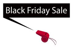 A Red Whistle Blowing Black Friday Banner Royalty Free Stock Photos