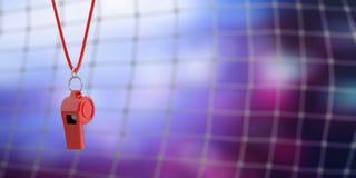 Red whistle on blur soccer goal net background, copy space. 3d illustration. Soccer, football referee. Red whistle on blur goal net background, copy space. 3d vector illustration