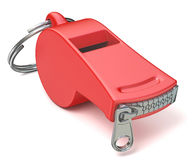 Red whistle with a closed zipper. 3D Stock Images