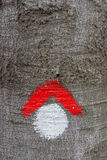 Red and whit hike path symbol painted on tree bark Stock Photos