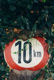 Red and White 10 Km Sign Royalty Free Stock Images