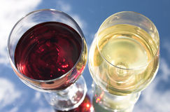 Red or white?. Detail of red & white wine - reflected Royalty Free Stock Photography