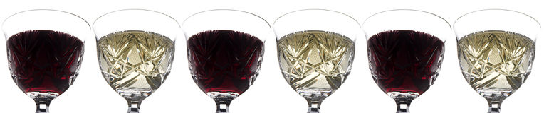 Red and white. Wine glasses Stock Images