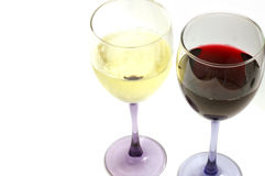 Red and white. Wine glasses royalty free stock photography