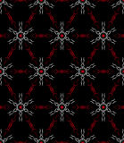 Red and White Abstract Seamless Pattern on a Black Background Stock Photo