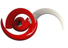Red & White Abstract Shapes Stock Photo