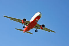 Red and white aircraft Stock Image