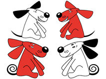 Red and white amusing dogs Royalty Free Stock Images