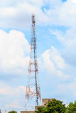 Red and white antenna. Royalty Free Stock Photo