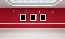 Red and white art gallery Royalty Free Stock Photo