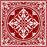 Red and white asian rug Stock Image