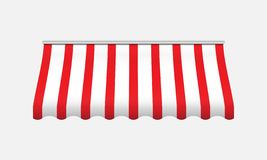 Red and white awning. Realistic canopy for store. stock illustration