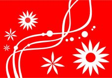Red-white background. White decorative flowers, lines and points on a red background Royalty Free Stock Photography