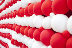 Red and white balloon wall Royalty Free Stock Images