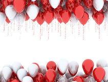 Red and white  balloons in air Stock Image