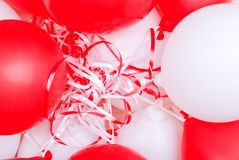 Red-white balloons on the board Stock Photography