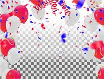 Red White balloons, confetti concept design background. with con. Fetti and red and blue ribbons Royalty Free Stock Photos