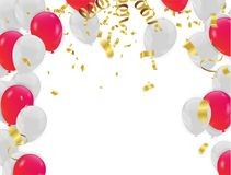 Red White balloons, confetti concept design background. with con. Fetti and red and ribbons Royalty Free Stock Photos