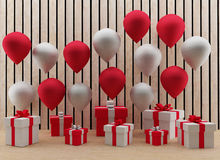 Red and white balloons with gift box in 3D render image. Set of red and white balloons with gift box in 3D render image Stock Photo