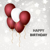 Red and white balloons for happy birthday Royalty Free Stock Photography