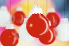 Red and white balls, christmas tree toys Royalty Free Stock Image