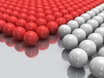 Red and white balls on mirror floor. 3D. Stock Photography
