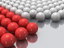 Red and white balls on mirror floor. 3D. Royalty Free Stock Photos