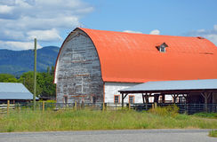 Red and white barn Stock Photo
