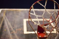 Red and white basketball net. At night time in asia Stock Photography