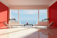 Red and white beach house Royalty Free Stock Photo