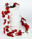 Red and white beaded necklace Royalty Free Stock Photography