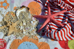 Red-White Bikini and Sea Stars Royalty Free Stock Image