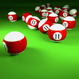 Red and white billiard balls with  number eleven Royalty Free Stock Image