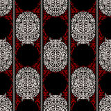 Red, white and black ancient vintage seamless ornamental texture. Vector illustration Stock Image