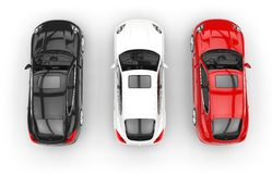 Red White And Black Cars Top View. High Resolution Render Of 3D Cars Stock Photography