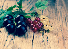 Red, white and black currant. On rustic wooden background. Instagram effect Stock Photo