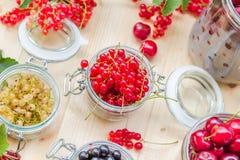 Red white black currants gooseberries cherries jars preparations Stock Photos
