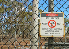 Red, white and black Danger, High Voltage, Keep Out sign Stock Photography