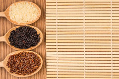 Red, white, and black rice in a wooden spoon Stock Photography