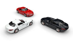 Red, White and Black Sports Cars Royalty Free Stock Photo