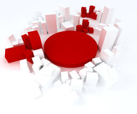 Red and white blocks. Abstract composition of red and white 3D shapes royalty free illustration