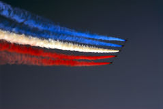 Red, white and blue. The red arrow squadron in action Stock Photography