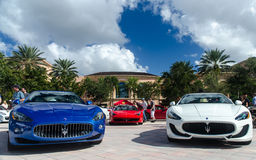 Red, White, and Blue. Maserati & Ferrari showcase at the 7th Annual Festivals of Speed. The event was held at the Ritz Carlton in Orlando Royalty Free Stock Photography